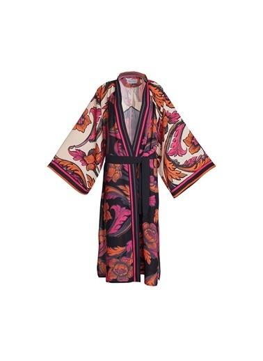 Women&Women Desenli Kimono  Beyaz